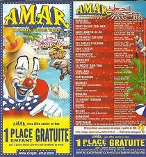 FLYER PLV - CIRQUE AMAR ( VACANCES, J' OUBLIE TOUT ) TOURNEE 2013 CIRCUS CLOWN