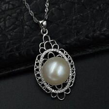 12m White Freshwater Pearl CZ Pendant Necklace Chain 925 Sterling Silver 07574