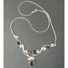 Wholesale New Artist-Crafted Sterling Silver & Smoky Quartz Chain Necklace