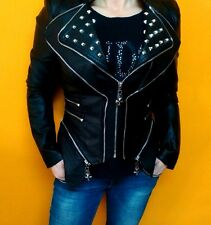Philipp Plein Lederjacke Damen Luxus Jacke Neu Fashion Jacket Gr.XL Schwarz