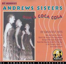 THE ANDREWS SISTERS : RUM AND COCA COLA - 20 GREATEST HITS / CD