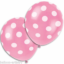 "6 PINK White Polka Dot Spot Style Party 12"" Printed Latex Balloons"