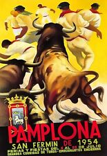 Travel Art Poster Pamplona Bull Fighting 1954  Print