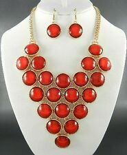 Red Lucite Circle Bead Gold Tone Base V Style Necklace Earring Set