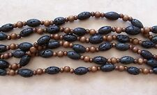 "16"" Strand Black Lava Stone Round Oval Barrel & Wood Round Beads 6mm-18mm"