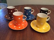 Set of 5 ~ Vintage Multi Colored Polka Dot Tea Cups and Saucers ~ VERY CUTE!!