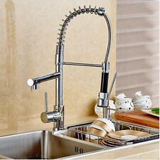 Modern Pull Out Swivel Dual Spouts Kitchen Faucet Mixer Tap Polish Chrome