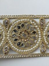 ATTRACTIVE INDIAN GOLD/SILVER CUTWORK MIRRORS,PEARLS TRIM/LACE - Sold By Meter