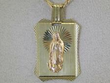 MENS LADIES 14KT GOLD W/ ROSE GOLD DIAMOND CUT VIRGIN MARY PENDANT 22mm X 35mm