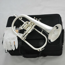Professional Silver Plated Flugelhorn Monel Valves Bb Flugel New Horn With Case