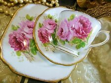 ROYAL ALBERT TEA CUP AND SAUCER TRIO ~AMERICAN BEAUTY~ STUNNING SQUARE PLATE