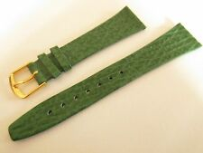 GREEN SHARK GRAIN CALF LEATHER 20MM WATCH STRAP BAND GOLD BUCKLE