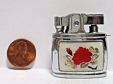 1950's Penguin Key Chain Lighter, Pretty Red Glass Rose, Working Cond., Japan