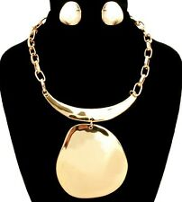 Egyptian BIG ROUNDED GOLD Pendant Statement Necklace & Earrings Link Chain SET