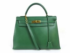 Authentic HERMES Kelly 32 〇U Couchevel 2Way Hand Bag Green Gold Dust Bag 36336