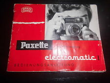 Bedienungsanleitung Paxette electromatic Photo Foto Kamera Camera caméra Album
