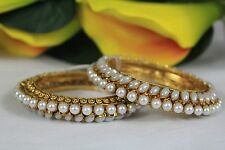 Ethnic Indian Traditional Pearl 2 Bangles Bollywood Jewellery  2*4 11 REDUCED