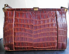 Vintage FASSBENDER crocodile skin leather handbag c 40's - 50's ?