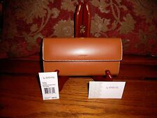 Lodis Audrey Checkbook Clutch Wallet Toffee & Chocolate Leather NWT MSRP $98