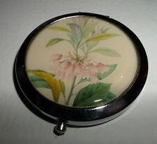 IMPERIAL FRITILLARY FLOWER SILVER PL CREAM COMPACT HANDBAG VANITY MIRROR GIFT B