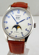 Parnis 43mm White dial Seagull st2528 automatic date Blue hands men's Watch 1421