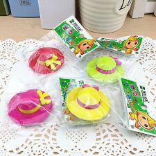 5pcs Cute Kids Hat cartoon Colors Rubber Pencil Eraser Kids Students Stationery