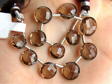 AAA Natural Smoky Quartz Faceted Round Coin Briolette Gemstone Beads (03210)