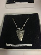 Prehistoric Shark's Tooth STP Emblem on Silver Platinum Plated Necklace 18""