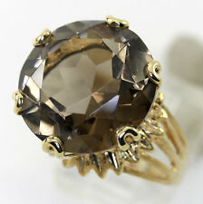 Smokey quartz ring 14K yellow gold antique style large round gem 16.70CT 10.1 GM