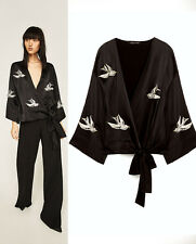 ZARA NEW BLACK PATCH EMBROIDERED WRAP KIMONO  JACKET BLAZER SIZE M L UK 8 10 12