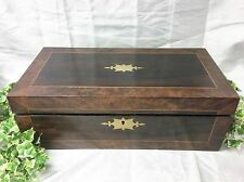 A Very Large Victorian  Burr Walnut, Brass & Mahogany Writing Slope Box