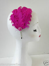 Hot Pink Feather Headpiece Fascinator Silver Flapper Vintage 1920s Headband O92