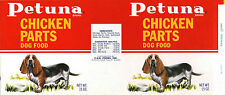 *Original* PETUNA Chicken Parts BASETT HOUND Dog Food Can Label NOT A COPY!