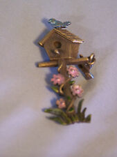 "Birdhouse, Flowers & Blue Birds Brooch pin  - approx 1.5"" diameter 2.75"" tall"