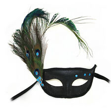 Willow Peacock Feathered Women's Masquerade Mask A-2248-R