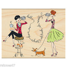 New Penny Black TETE A TETE Rubber Stamp Girls Friends Phone Hello Gossip Pets