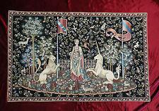 Wandteppich aus Italy Gobelin La dama e unicorno Gusto Arazzo Tapisserie SCHWARZ