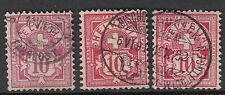 SWITZERLAND:1882-92 10c pink;rose;carmine SG130A,c,d used