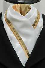 Ready Tied White & Gold Duo Faux Silk Dressage Riding Stock -Evening Performance