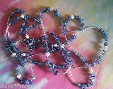 HIPPY NECKLACE GEMSTONE BEAD BOHEMIAN LONG KYANITE REAL PEARLS BOHO 7SE9