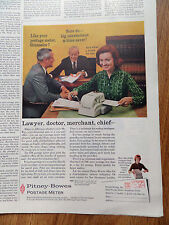 1960 Pitney-Bowes Postage Meter Ad Lawyer Doctor Merchant, Chief
