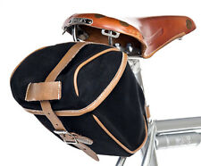 "Velo Orange ""Croissant"" Saddle Bag Dry waxed canvas with leather straps and trim"