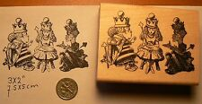 Alice in wonderland with queens rubber stamp P50