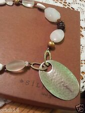 Silpada SS PENDANT, SHELL BRASS MOTHER OF PEARL WHITE JADE NECKLACE  N1899