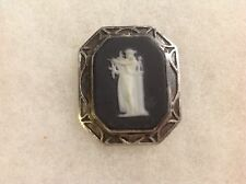 Vintage Black White Wedgwood Sterling Silver Brooch Pin Goddess Playing the Harp