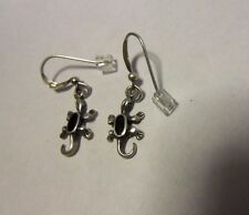 Sterling Silver Lizard Reptile Soma hook Earrings Onyx Inlay Center Stones, 925