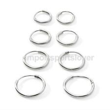 4 PAIRS 925 STERLING SILVER HOOP SLEEPER EARRING HINGED RING SMALL LARGE