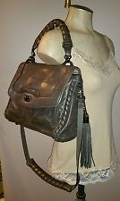 CYNTHIA ROWLEY GUN METAL LEATHER TASSEL MESSENGER BAG HANDBAG SADDLE WHIP STITCH