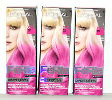 3 x L'OREAL Feria Dip Dye Excess Semi-Permanent Hair Dye Colour - X01 Pink Pop