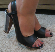 COSTUME NATIONAL Black Leather Silver Heel Peep Toe Shoes UK5.5